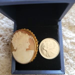 Gold plated cameo brooch/pendant